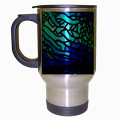 Sea Fans Diving Coral Stained Glass Travel Mug (silver Gray) by Onesevenart