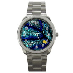 Sea Fans Diving Coral Stained Glass Sport Metal Watch by Onesevenart