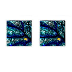 Sea Fans Diving Coral Stained Glass Cufflinks (square) by Onesevenart