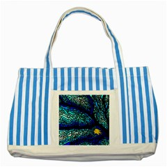 Sea Fans Diving Coral Stained Glass Striped Blue Tote Bag by Onesevenart