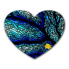 Sea Fans Diving Coral Stained Glass Heart Mousepads by Onesevenart