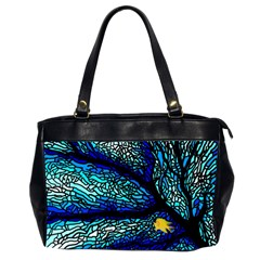 Sea Fans Diving Coral Stained Glass Office Handbags (2 Sides)  by Onesevenart