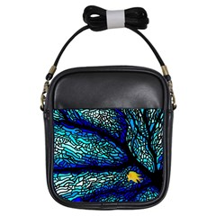 Sea Fans Diving Coral Stained Glass Girls Sling Bags by Onesevenart