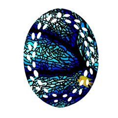 Sea Fans Diving Coral Stained Glass Oval Filigree Ornament (two Sides) by Onesevenart