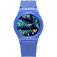 Sea Fans Diving Coral Stained Glass Round Plastic Sport Watch (s) by Onesevenart