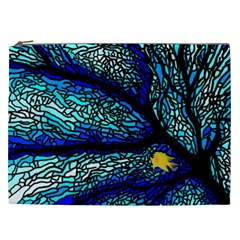 Sea Fans Diving Coral Stained Glass Cosmetic Bag (xxl)  by Onesevenart