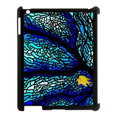 Sea Fans Diving Coral Stained Glass Apple Ipad 3/4 Case (black) by Onesevenart