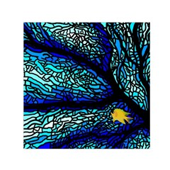 Sea Fans Diving Coral Stained Glass Small Satin Scarf (square) by Onesevenart