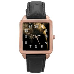 Smoke Fume Smolder Cigarette Air Rose Gold Leather Watch  by Onesevenart