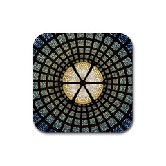 Stained Glass Colorful Glass Rubber Square Coaster (4 Pack)  by Onesevenart