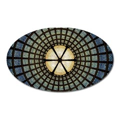 Stained Glass Colorful Glass Oval Magnet by Onesevenart