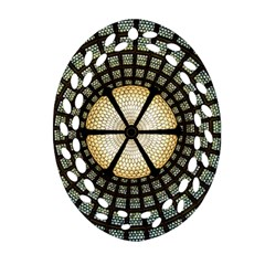 Stained Glass Colorful Glass Oval Filigree Ornament (two Sides) by Onesevenart