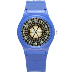 Stained Glass Colorful Glass Round Plastic Sport Watch (s) by Onesevenart