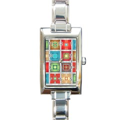 Tiles Pattern Background Colorful Rectangle Italian Charm Watch by Onesevenart