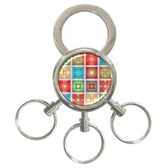 Tiles Pattern Background Colorful 3 Ring Key Chains by Onesevenart