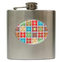 Tiles Pattern Background Colorful Hip Flask (6 Oz) by Onesevenart