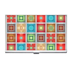 Tiles Pattern Background Colorful Business Card Holders by Onesevenart