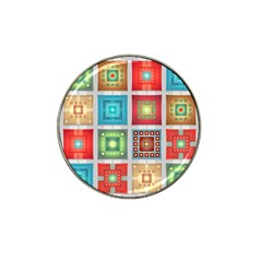 Tiles Pattern Background Colorful Hat Clip Ball Marker by Onesevenart