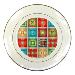 Tiles Pattern Background Colorful Porcelain Plates by Onesevenart