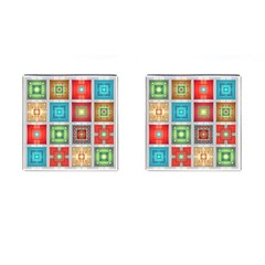 Tiles Pattern Background Colorful Cufflinks (square) by Onesevenart