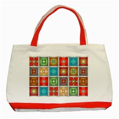 Tiles Pattern Background Colorful Classic Tote Bag (red) by Onesevenart