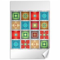 Tiles Pattern Background Colorful Canvas 12  X 18   by Onesevenart