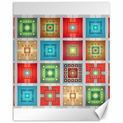 Tiles Pattern Background Colorful Canvas 11  X 14   by Onesevenart