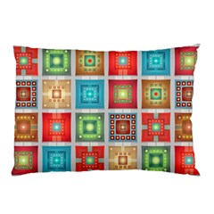Tiles Pattern Background Colorful Pillow Case by Onesevenart