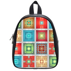 Tiles Pattern Background Colorful School Bags (small)  by Onesevenart