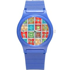 Tiles Pattern Background Colorful Round Plastic Sport Watch (s) by Onesevenart