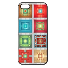 Tiles Pattern Background Colorful Apple Iphone 5 Seamless Case (black) by Onesevenart