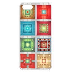 Tiles Pattern Background Colorful Apple Iphone 5 Seamless Case (white) by Onesevenart