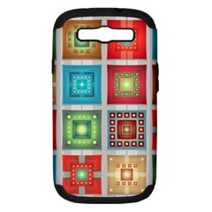 Tiles Pattern Background Colorful Samsung Galaxy S Iii Hardshell Case (pc+silicone) by Onesevenart