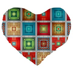 Tiles Pattern Background Colorful Large 19  Premium Heart Shape Cushions by Onesevenart