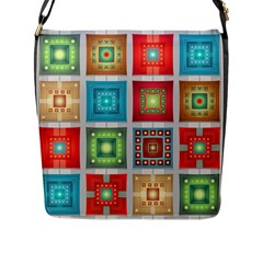 Tiles Pattern Background Colorful Flap Messenger Bag (l)  by Onesevenart