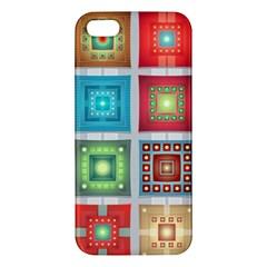Tiles Pattern Background Colorful Iphone 5s/ Se Premium Hardshell Case by Onesevenart