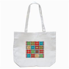 Tiles Pattern Background Colorful Tote Bag (white) by Onesevenart