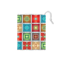 Tiles Pattern Background Colorful Drawstring Pouches (small)  by Onesevenart