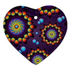 Texture Background Flower Pattern Heart Ornament (two Sides) by Onesevenart