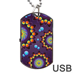 Texture Background Flower Pattern Dog Tag Usb Flash (one Side) by Onesevenart
