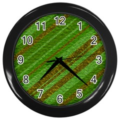 Stripes Course Texture Background Wall Clocks (black) by Onesevenart