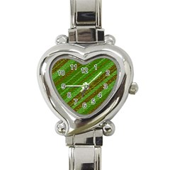 Stripes Course Texture Background Heart Italian Charm Watch by Onesevenart