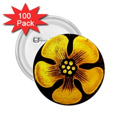 Yellow Flower Stained Glass Colorful Glass 2 25  Buttons (100 Pack)  by Onesevenart