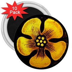 Yellow Flower Stained Glass Colorful Glass 3  Magnets (10 Pack)  by Onesevenart