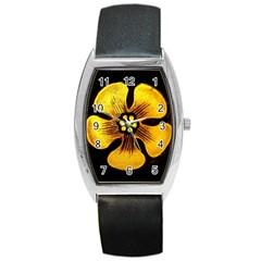Yellow Flower Stained Glass Colorful Glass Barrel Style Metal Watch by Onesevenart