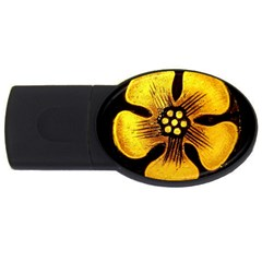 Yellow Flower Stained Glass Colorful Glass Usb Flash Drive Oval (4 Gb) by Onesevenart