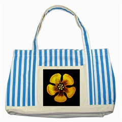Yellow Flower Stained Glass Colorful Glass Striped Blue Tote Bag by Onesevenart