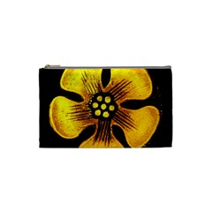Yellow Flower Stained Glass Colorful Glass Cosmetic Bag (small)  by Onesevenart