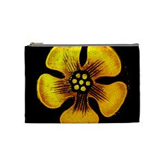 Yellow Flower Stained Glass Colorful Glass Cosmetic Bag (medium)  by Onesevenart