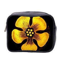 Yellow Flower Stained Glass Colorful Glass Mini Toiletries Bag 2 Side by Onesevenart